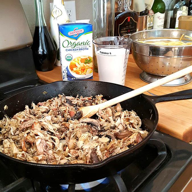 Turkey Tetrazzini with Mushrooms, Bacon, Garlic and Herbs