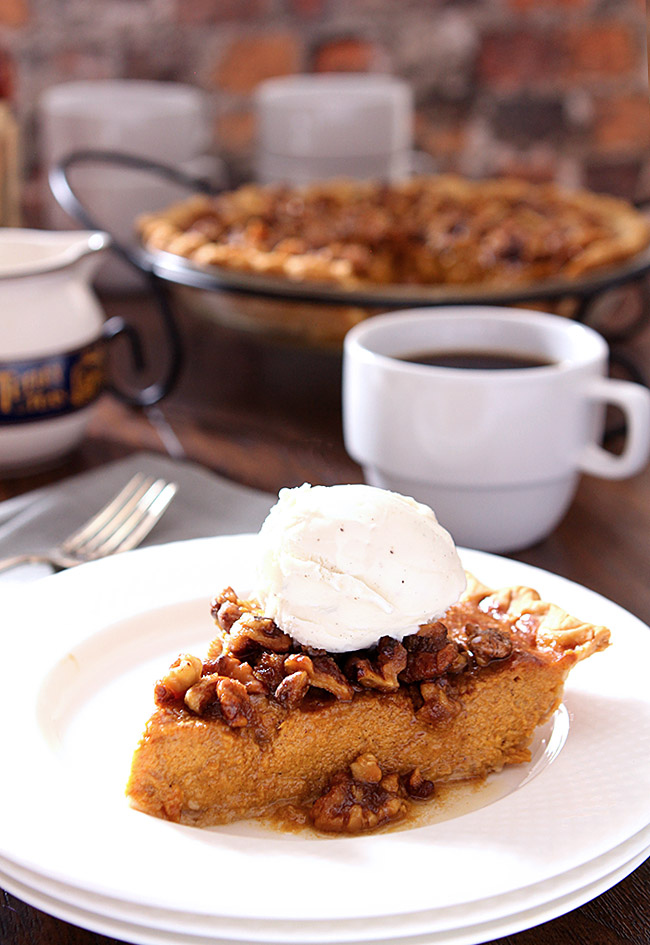 Bourbon Pumpkin Pie with Walnuts