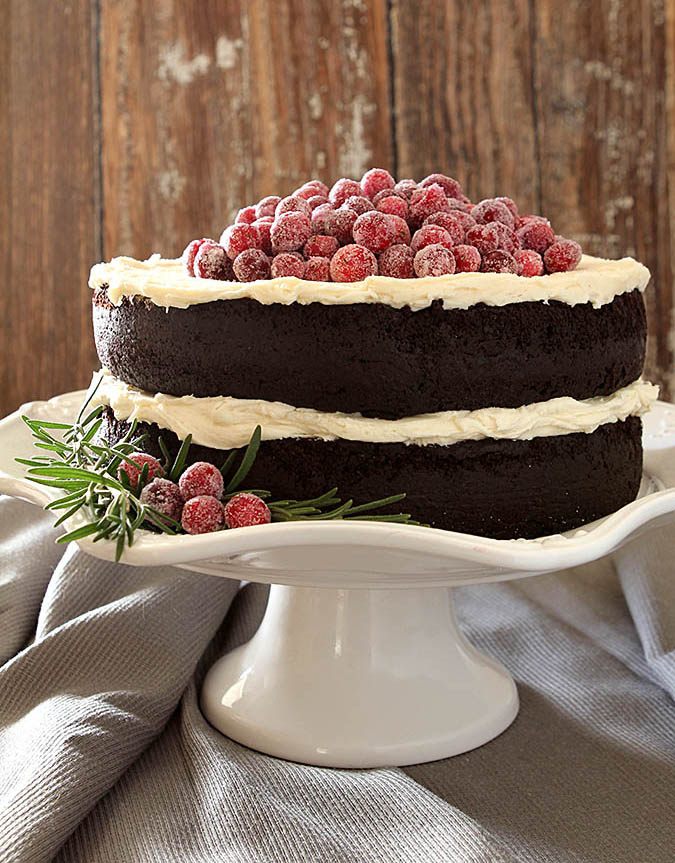 Red Wine Chocolate Cake with Sugared Cranberries | Creative Culinary ...