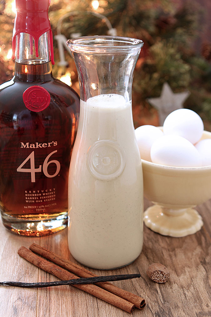 Homemade Vanilla Eggnog with Bourbon