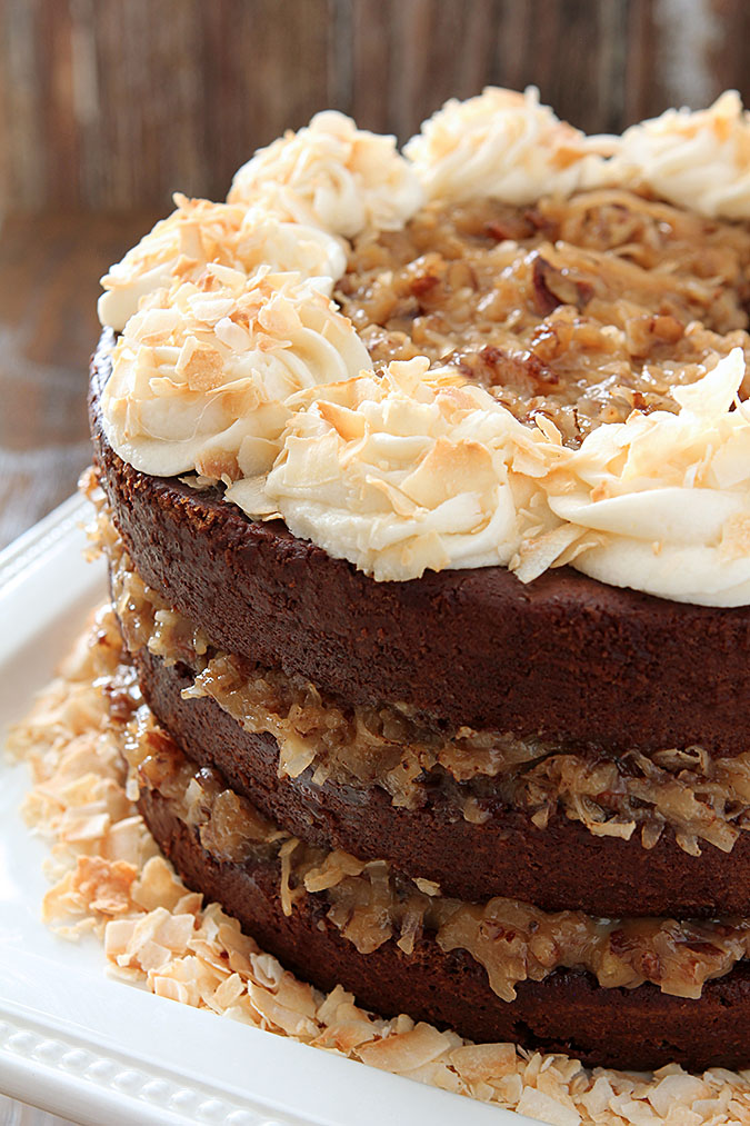 German Chocolate Cake with Rum Glaze and Buttercream Creative Culinary