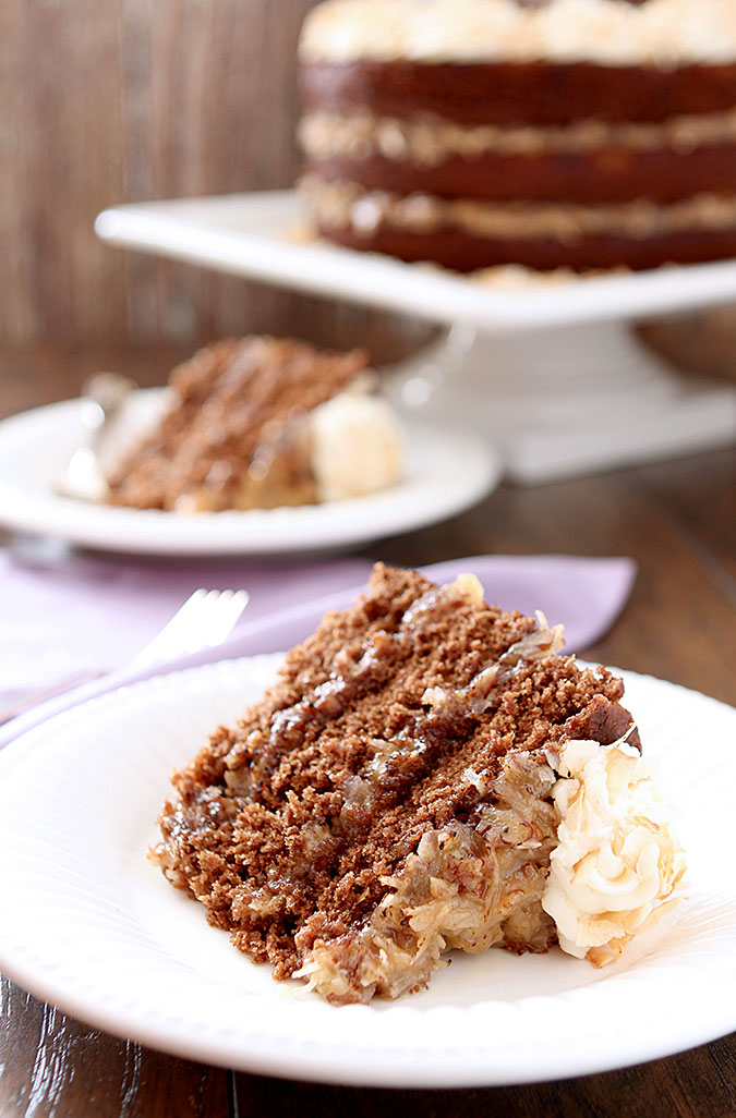 German Chocolate Cake with Rum Glaze and Buttercream