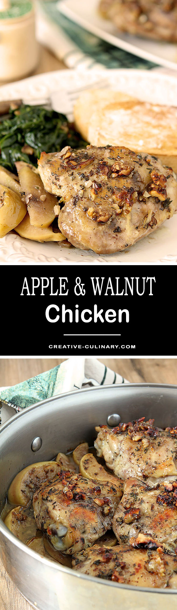 This Apple and Walnut Chicken with Honey Mustard Dressing is an easy dinner all year round. The combination of chicken, apples, maple syrup and walnuts is complemented with a delicious Honey Mustard Dressing.