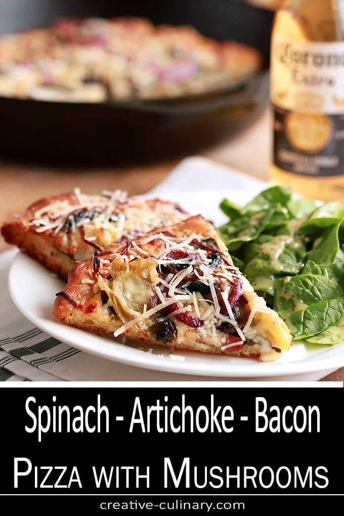 Spinach, Artichoke, Bacon, and Mushroom Pizza