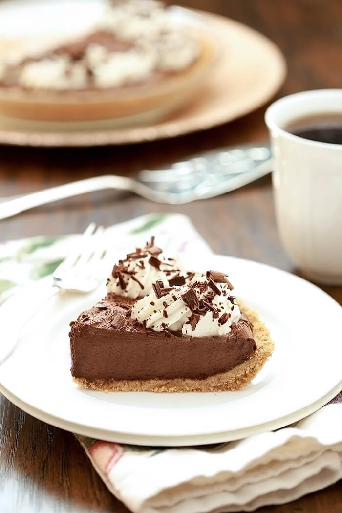 Slice of French Silk Pie on White Plate