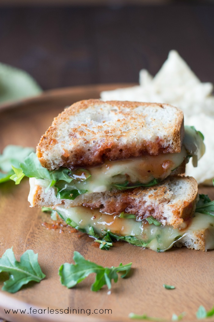 Gluten Free Pepper Jack Grilled Cheese with Strawberry Hot Sauce and Arugula Hero