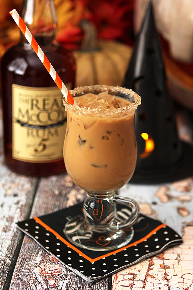 Halloween Express Cocktail - Espresso, Rum, Maple Syrup and Half and Half.