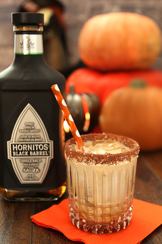 The Black Goblin Cocktail with Tequila, Kahlua and Cream with Hornitos Tequila