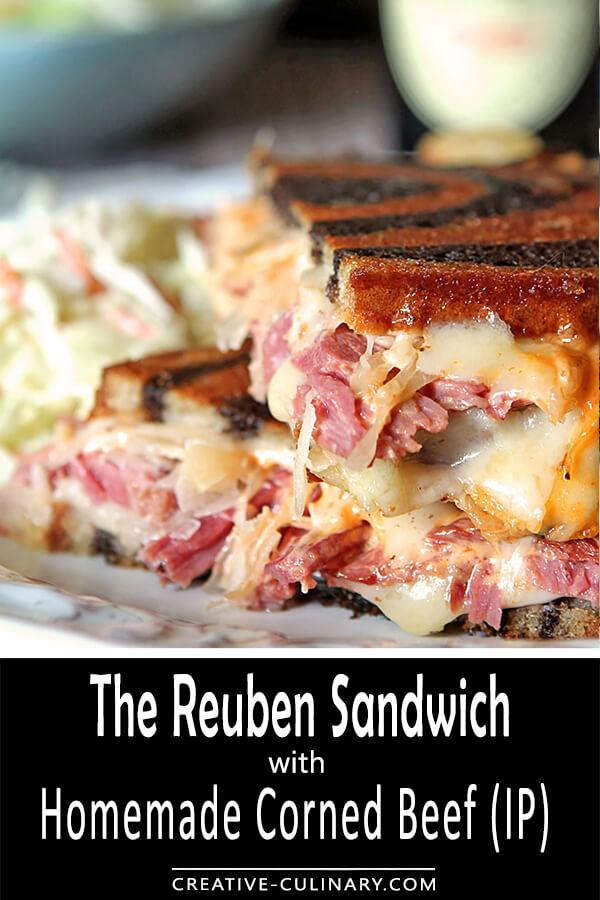Corned beef is so easy to make using an Instant Pot Pressure Cooker and it is absolutely mouth-watering in these classic Homemade Reuben Sandwiches with Sauerkraut, Melted Cheese and Thousand Island Dressing.
