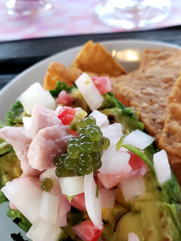 "Strawberry RockFish Ceviche, Basil ""Caviar,"" Grilled Avocado, Spent Grain Tortilla Chips"