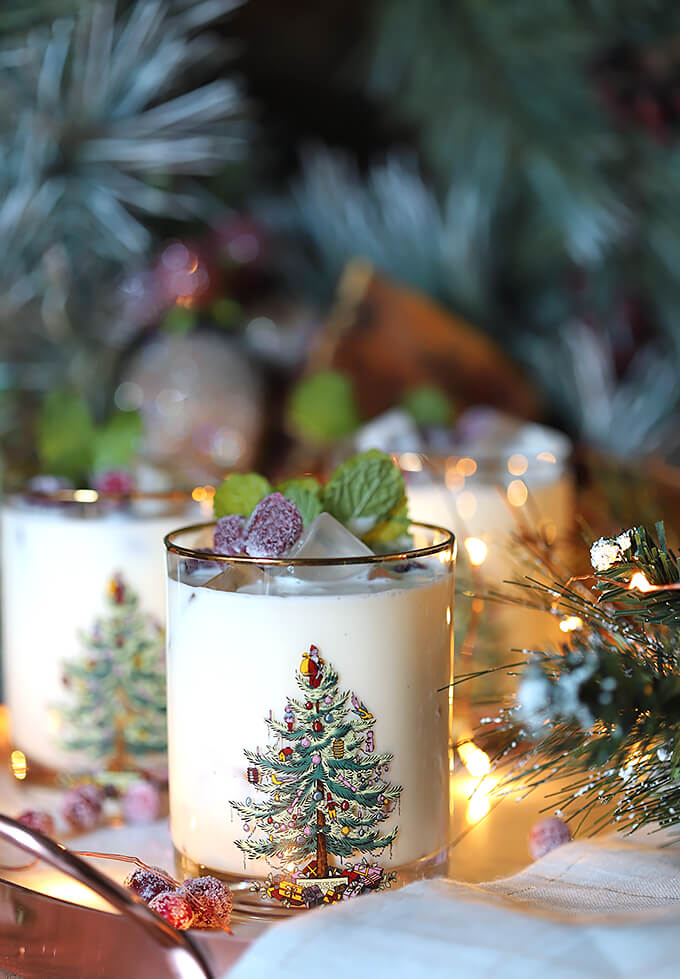 White Chocolate Mint Eggnog Cocktails Served in Spode Christmas Tree Glasses