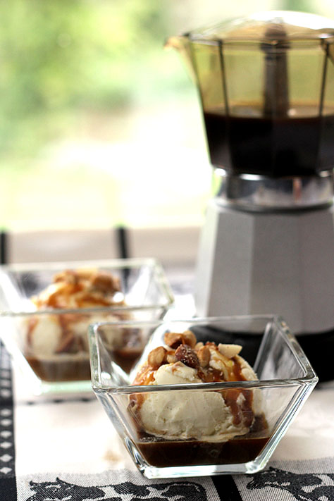 Affogato - Vanilla Ice Cream 'Drowned' in Espresso with Caramel Sauce and Salted Nuts