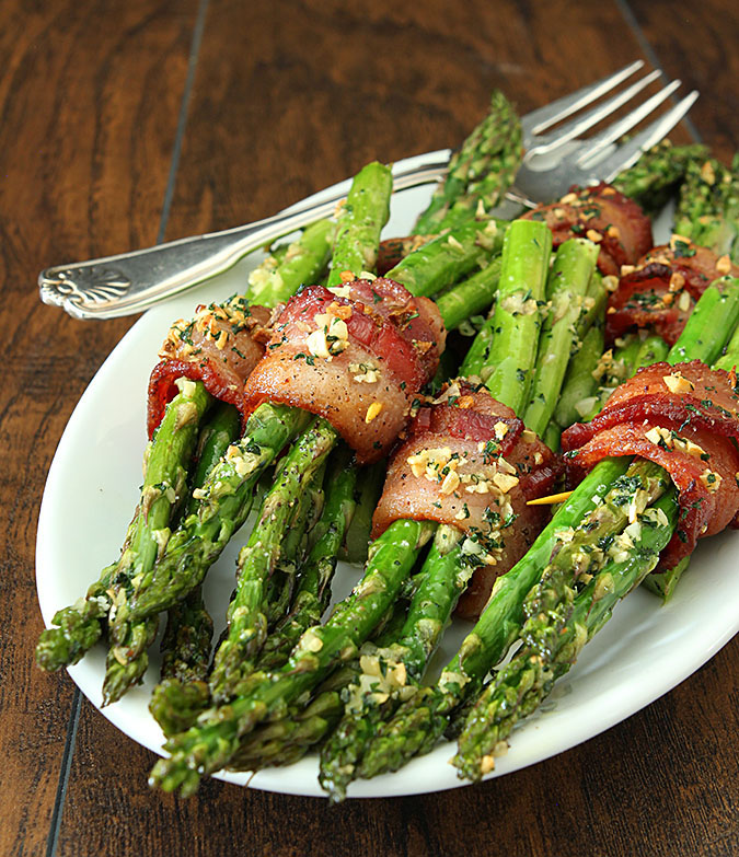 Bacon Wrapped Asparagus with Garlic and Parsley