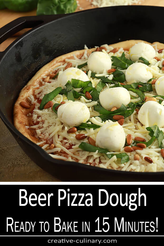 Beer Pizza Dough Topped with Tomato Sauce, Mozzarella, Basil and Cream Cheese