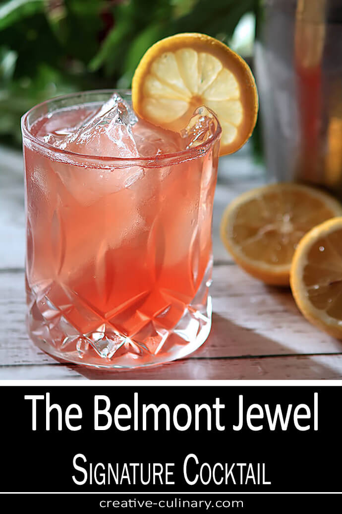 The Belmont Jewel Cocktail is the signature drink of the Belmont Stakes. Served in a lowball glass and garnished with a lemon wheel.