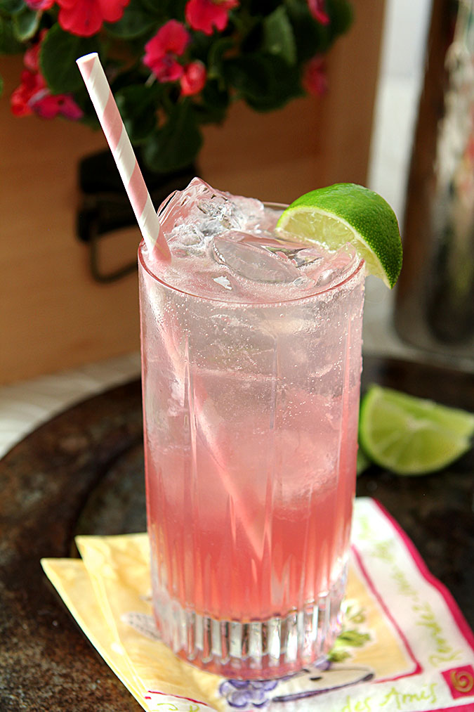 The Bend and Snap with Citreon Vodka and Pomegranate Juice Served in a Clear, Tall Glass with a Pink and White Straw