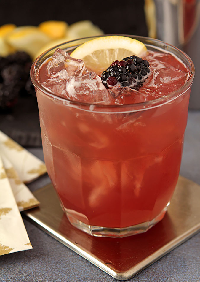 Blackberry Bourbon Cocktail with Cranberry Juice, Lemon and Creme De Mure