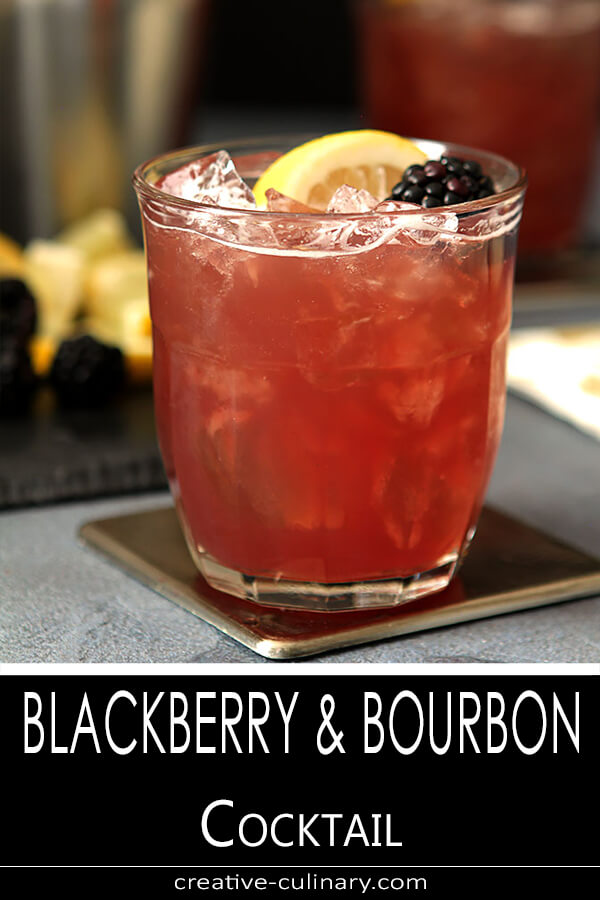 Blackberry Bourbon Cocktail Served in a lowball glass with garnish.
