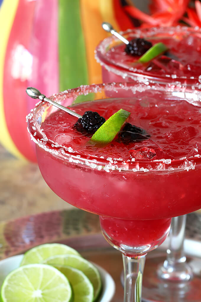 Fresh Blackberry Margarita Cocktail on Ice in a Margarita Glass