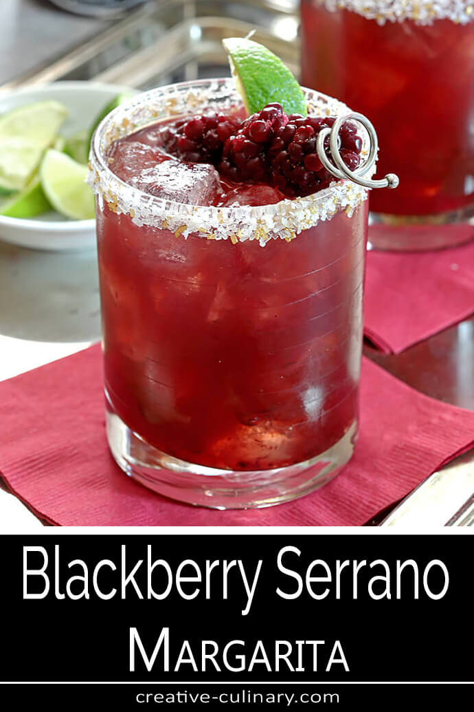 Blackberry Serrano Margarita Garnished with Blackberries and Lime Wedge PIN