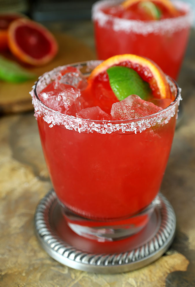 Blood Orange Margarita Cocktail with Orange and Lime Garnish