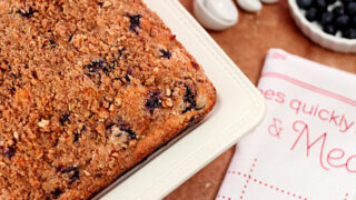 The Best Blueberry Coffee Cake has Crown Royal Maple