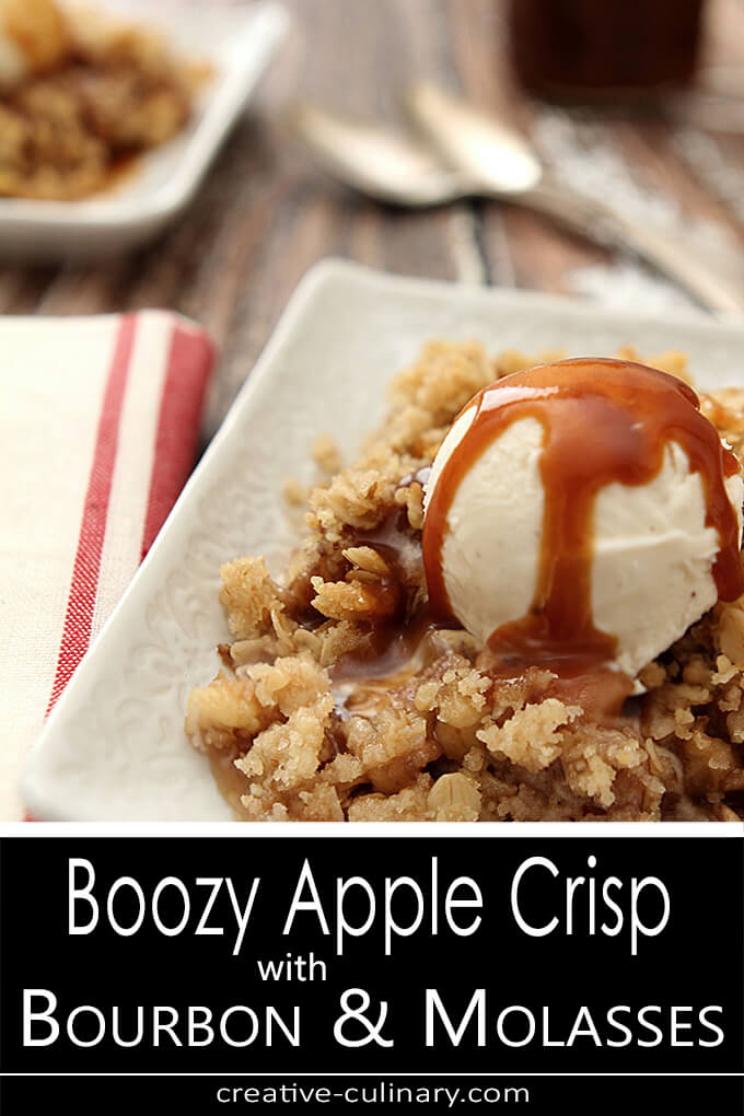 Boozy Apple Crisp with Bourbon and Molasses Served ala Mode on a Square White Plate