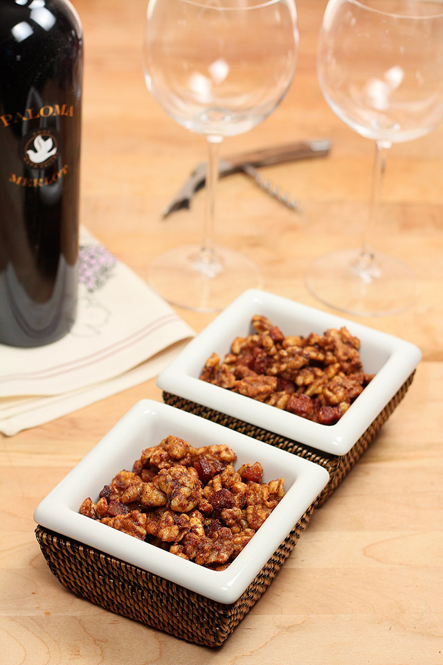 Maple, Bourbon and Bacon Spiced Walnuts