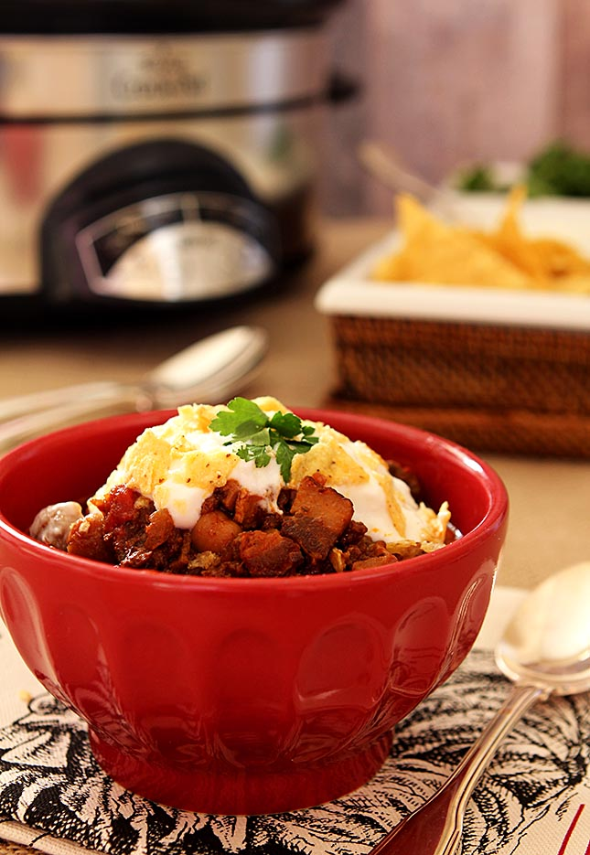 Smoky Beef and Bourbon Chili from Creative-Culinary.com