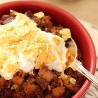 Smoky Beef, Bacon and Bourbon Chili
