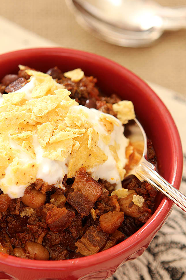 Smoky Beef, Bacon and Bourbon Chili from Creative-Culinary.com