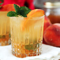 Bourbon and Peach Jam Smash Cocktail