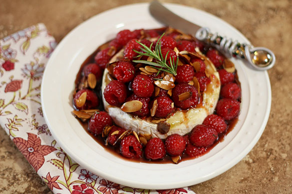 Warm Honeyed Brie with Raspberries and Almonds