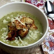 Broccoli Soup with White Cheddar Cheese and Garlic Croutons