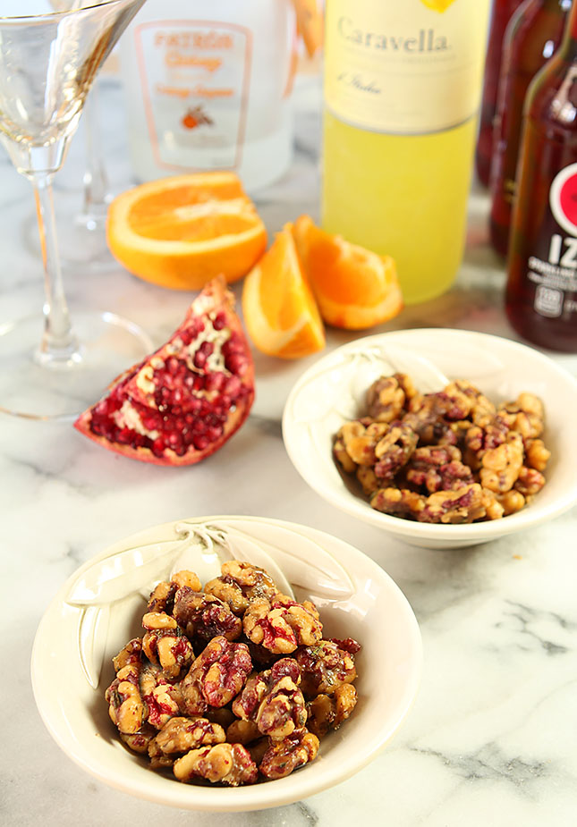 Brown Sugar and Cayenne Candied Walnuts in Serving Bowls