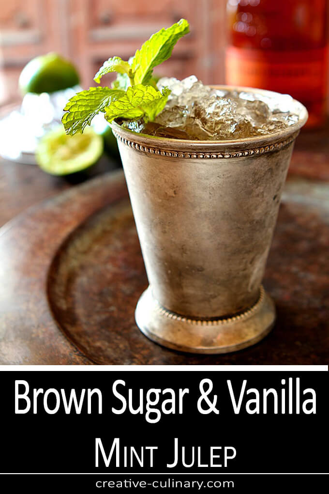 Brown Sugar and Vanilla Mint Julep in a Silver Julep Cup with Mint Garnish