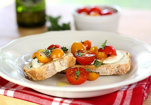 Warm Cherry and Mozzarella Bruschetta