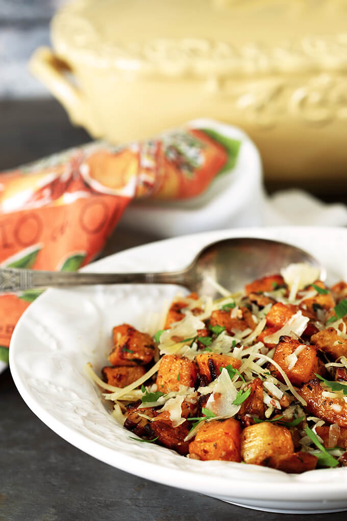 Pecan and Parmesan Roasted Butternut Squash Served in a White Bowl