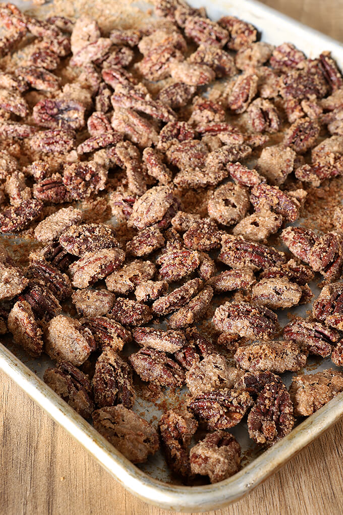 Candied Cinnamon and Sugar Pecans on a Baking Tray