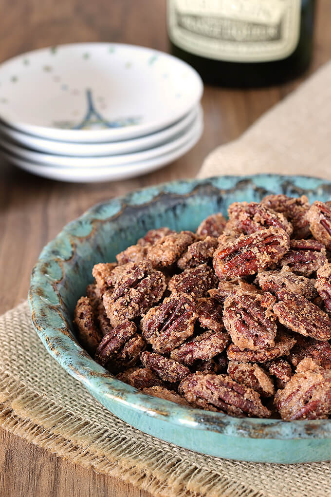 Candied Cinnamon and Sugar Pecans in a Turquoise Pottery Bowl