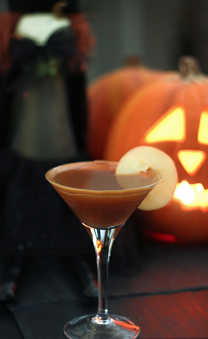 Caramel Apple Cider Cocktail in Martini Glass