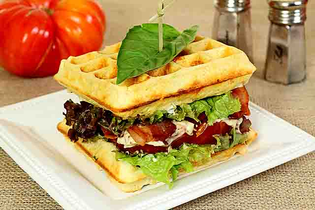Cheese and Herb Waffle Toast for a Bacon, Lettuce and Tomato Sandwich ...