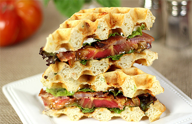 Bacon, Lettuce and Tomato on Cheesy Waffle Toast