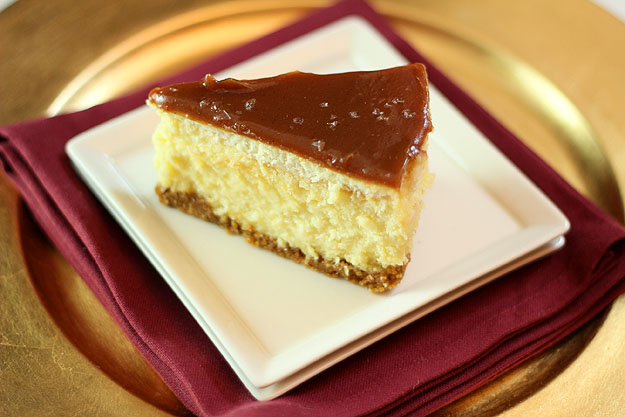 White Chocolate Mascarpone Cheesecake with Salted Caramel and Chocolate Glaze