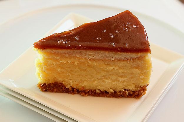 White Chocolate Mascarpone Cheesecake with Salted Caramel