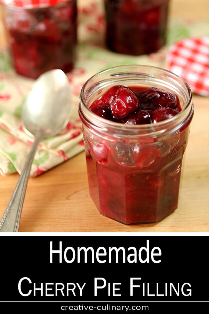 Homemade Cherry Pie Filling in Jam Jars