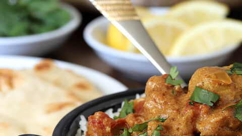 Easy Chicken Curry Served Over Basmati Rice