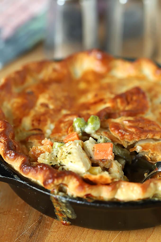 Chicken Pesto Pot Pie Cut Open to see Ingredients