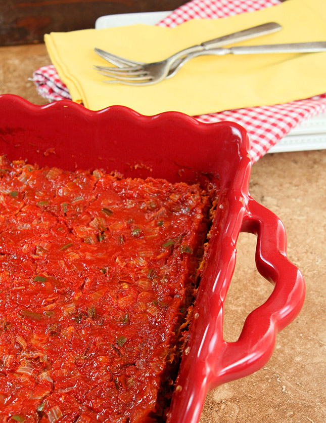 Chile Relleno Casserole in a Red Baking Dish