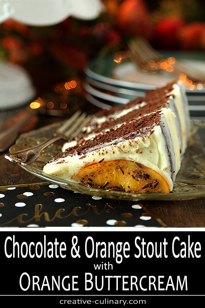 Chocolate Orange Stout Cake with Orange Buttercream Frosting PIN